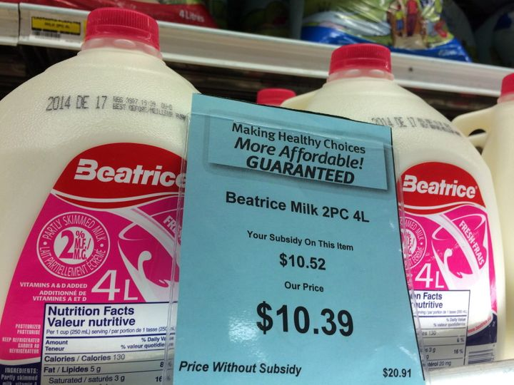 A price tag shows the cost of a four-litre jug of milk at a grocery store in Iqaluit on Dec. 8, 2014.