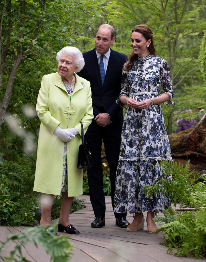 "Queen Elizabeth II is shown around ""Back to Nature"" by Prince William and Catherine, Duchess of Cambridge."
