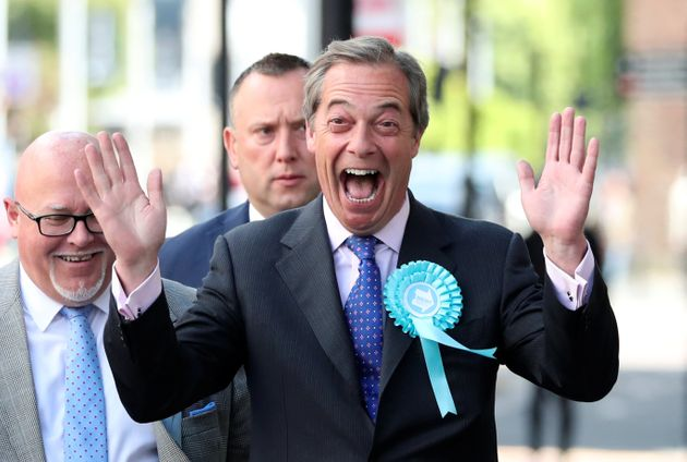 Nigel Farage in Newcastle on Monday shortly before being