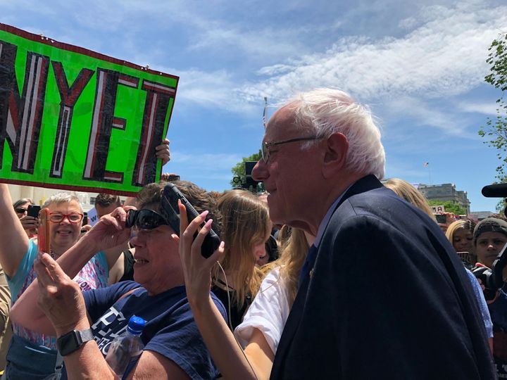 Sen. Bernie Sanders was among those attending the rally in Washington, D.C., on Tuesday.
