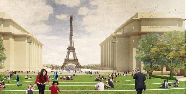 Ces gradins aménagés sur la place du Trocadéro offriront 12 000 places avec vue...