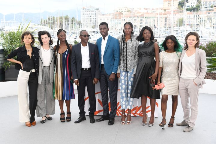 "Mati Diop and cast members of her film ""Atlantics"" in Cannes, France, on May 17."