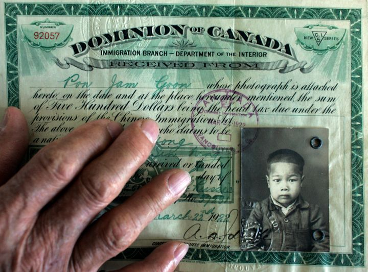 Chinese-Canadian head tax documentation.
