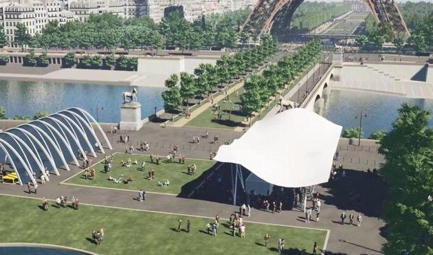 Le futur pont d'Iéna piéton et la place de
