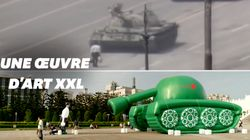 Un tank gonflable géant pour commémorer les 30 ans du massacre de