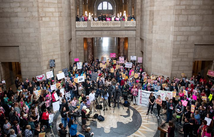 People gather in the Capitol Rotunda in Lincoln, Nebraska, for a reproductive freedom rally on Tuesday.