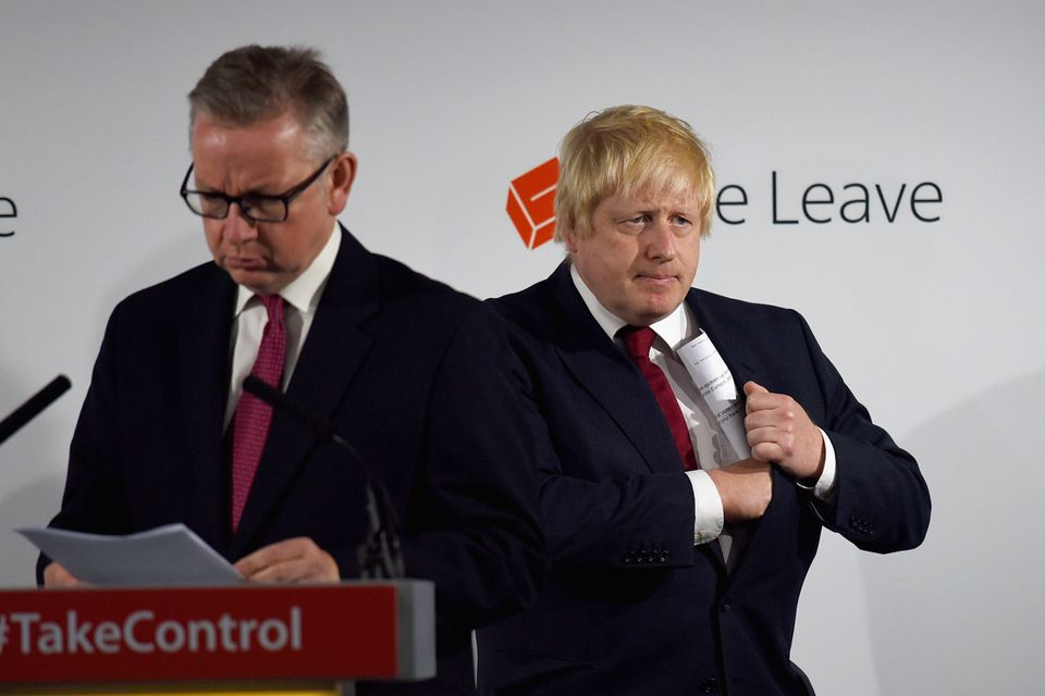 Michael Gove and Boris Johnson after the 2016