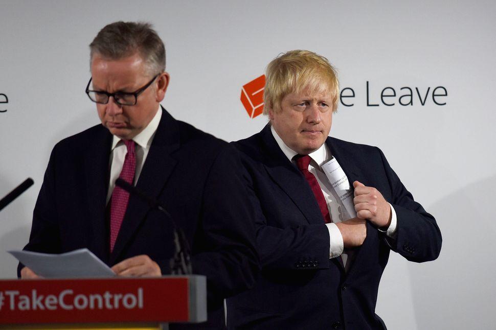 Michael Gove and Boris Johnson after the 2016 referendum
