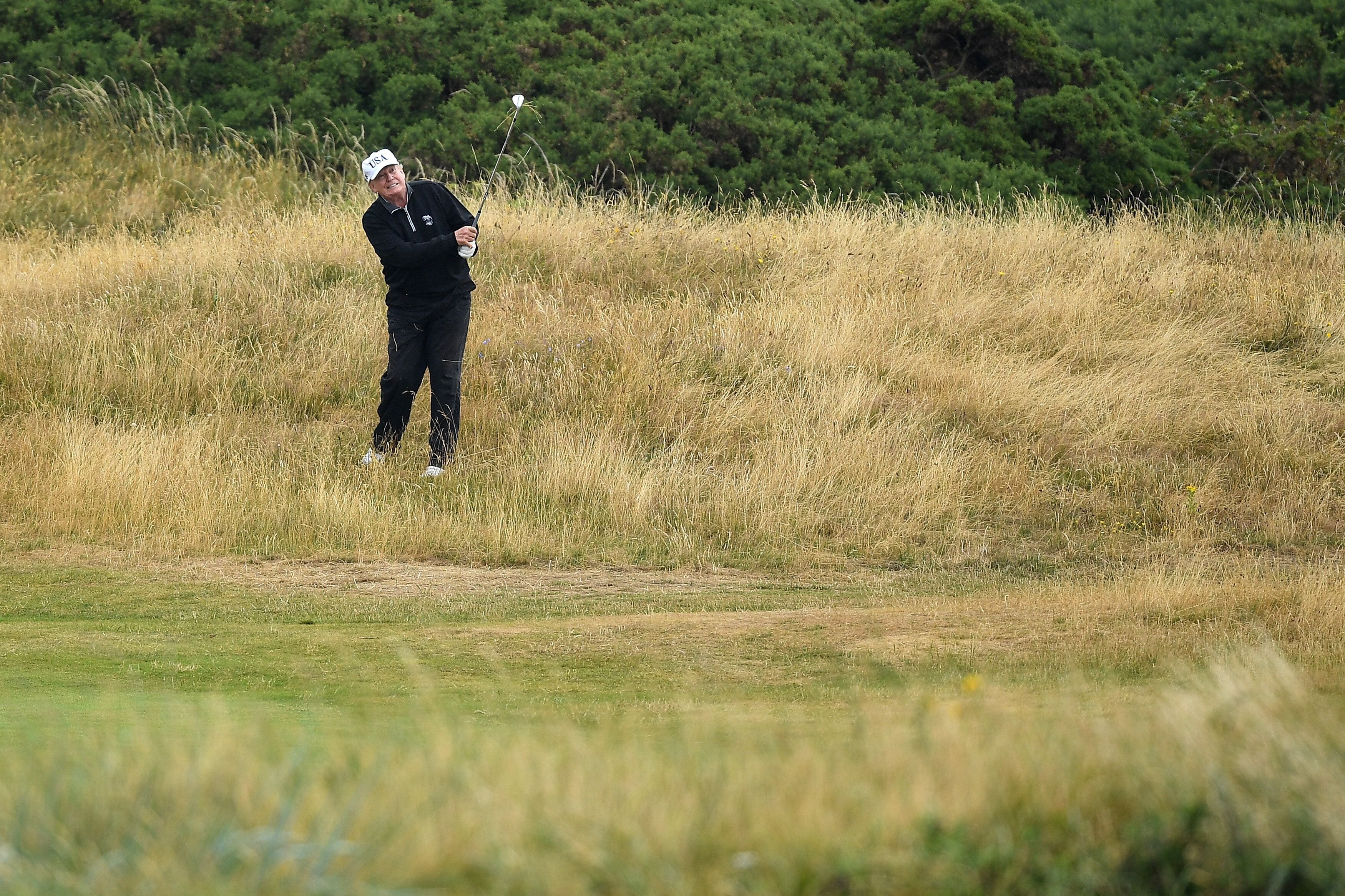 President Donald J. Trump has spent a total of 61 days on his Florida courses, 58 at Bedminster in New Jersey, one at Trump National Golf Club in Los Angeles and two at Trump Turnberry. — Photograph: Leon Neal/via Getty Images.