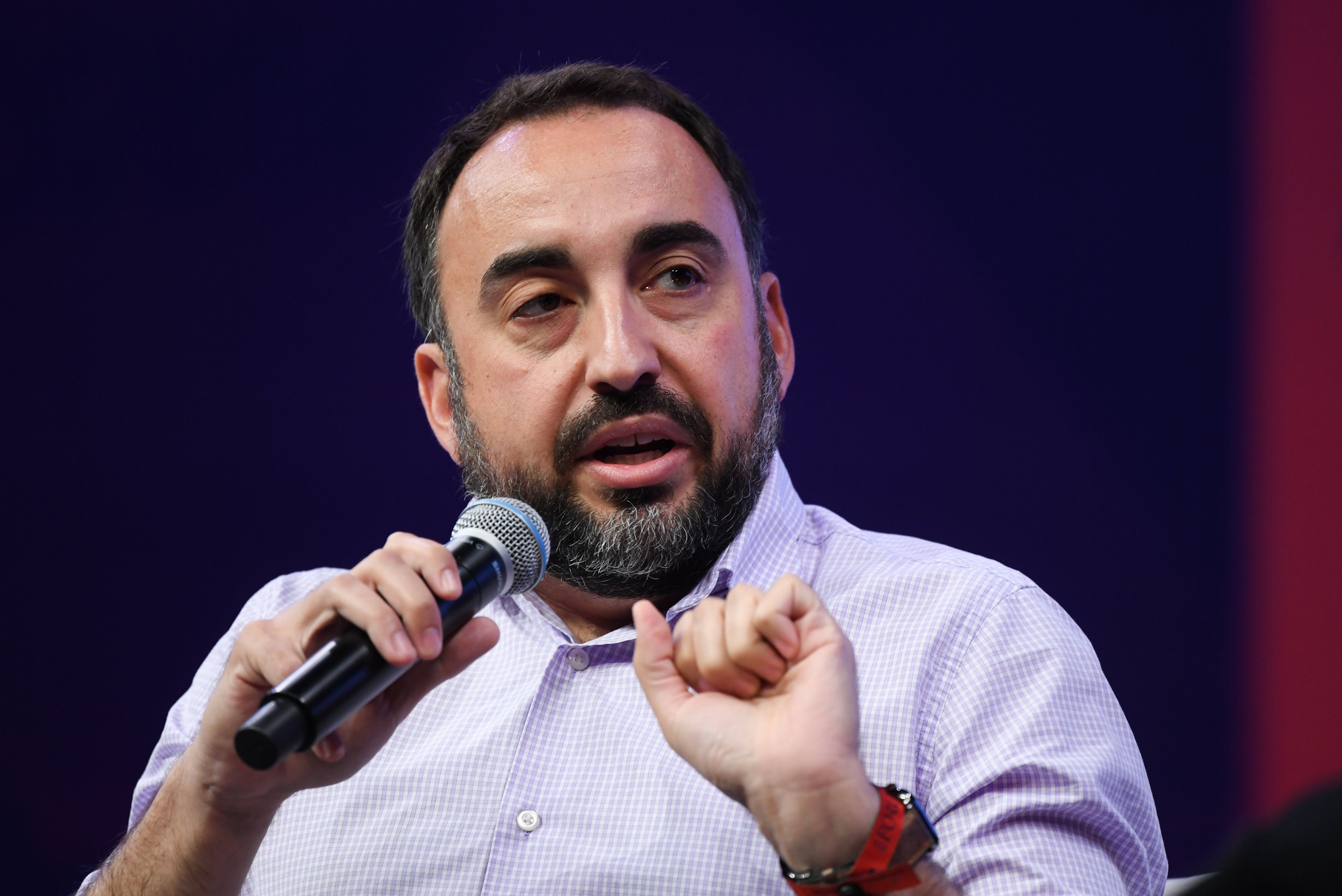 Toronto , Canada - 21 May 2019; Alex Stamos, Adjunct Professor, Stanford University, on Centre Stage during day one of Collision 2019 at Enercare Center in Toronto, Canada. (Photo By Stephen McCarthy/Sportsfile via Getty Images)