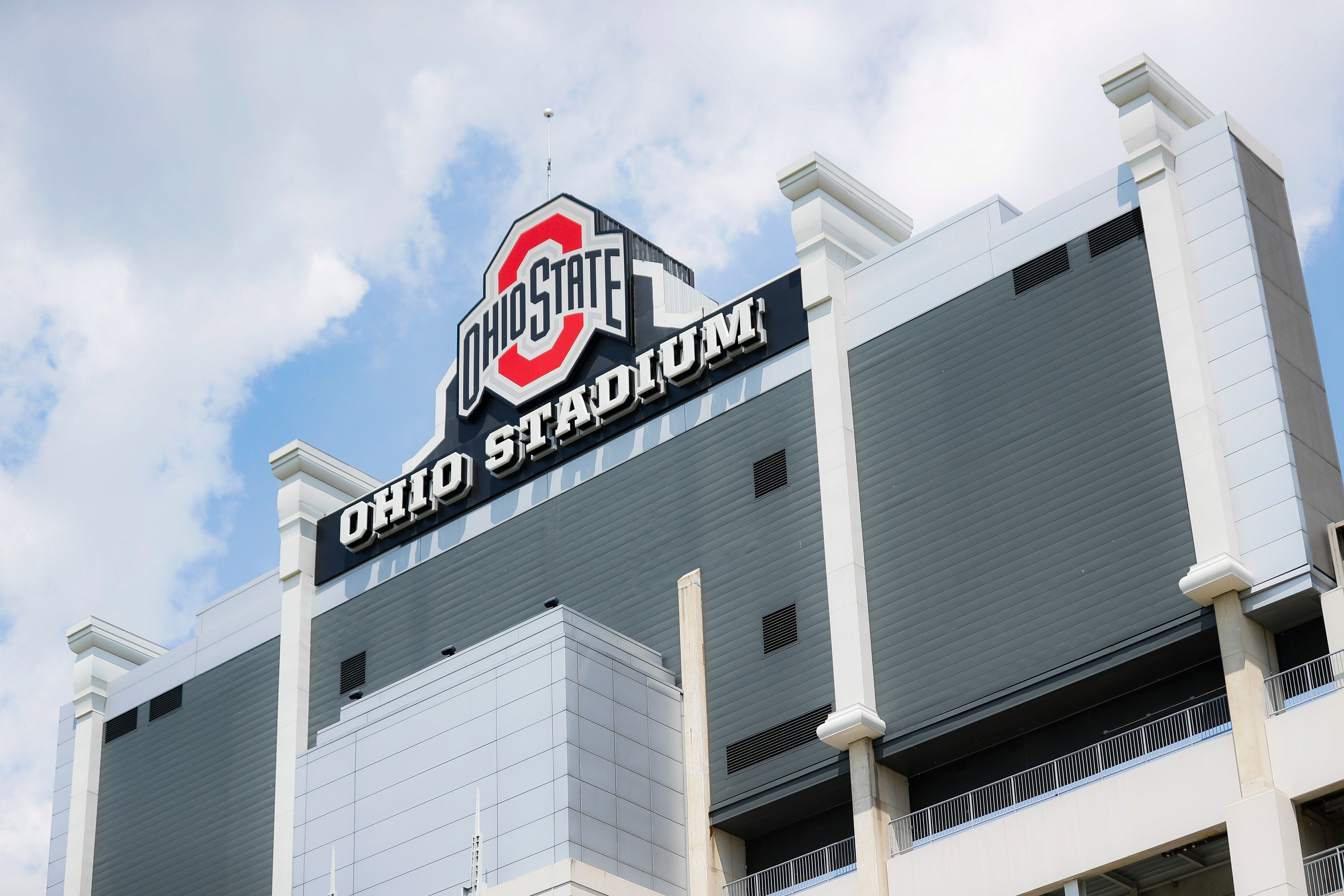 Clouds pass above The Ohio State University's football stadium, Saturday, May 18, 2019, in Columbus, Ohio. Dr. Richard Strauss, a now-dead Ohio State team doctor sexually abused at least 177 male students from the 1970s through the 1990s, and numerous university officials got wind of what was going on over the years but did little or nothing to stop him, according to a report released by the school Friday. (AP Photo/John Minchillo)