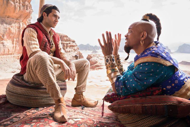 """Mena Massoud and a non-blue Will Smith in """"Aladdin."""""""