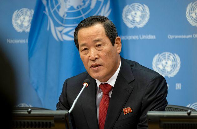 김성 유엔주재 북한대사가 21일(현지시각) 유엔본부에서 기자회견을 열어 미국 정부가 압류한 북한 화물선 '와이즈 어니스트(Wise Honest)'호의 반환을 촉구했다. 미국, 뉴욕....