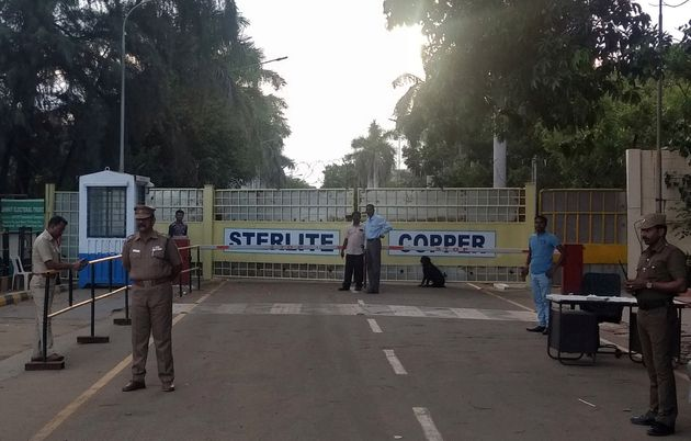 Police stand gurad outside a copper smelter controlled by London-listed Vedanta Resources in Thoothukudi...