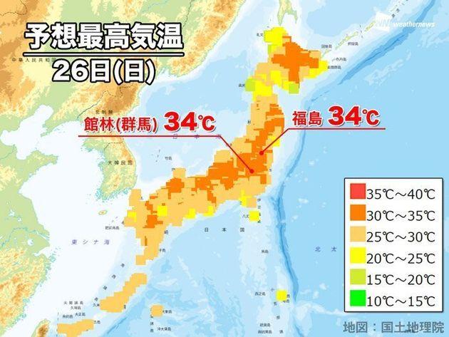 26日(日)の予想最高気温(オレンジ色は30℃以上の真夏日)