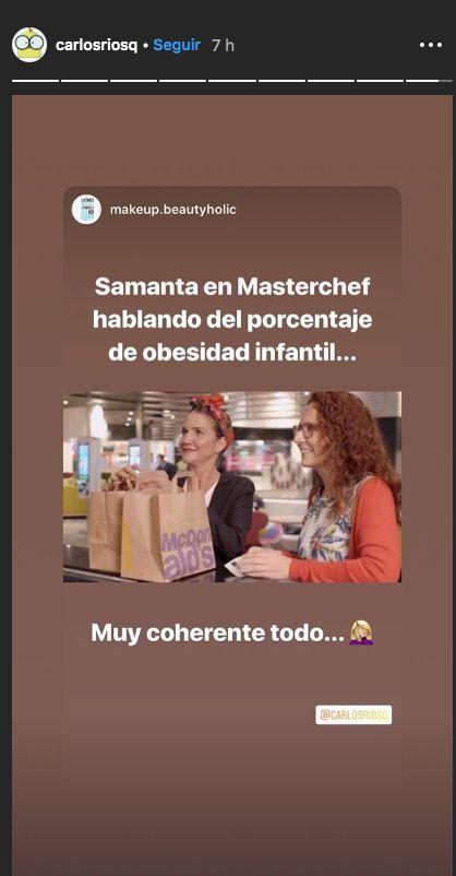 Samantha Vallejo-Nágera hace un comentario sobre nutrición en 'Masterchef' y se le vuelve en su