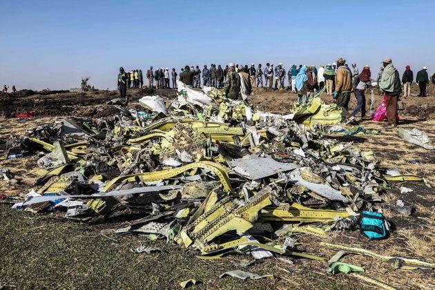 エチオピアの事故で墜落した残骸(2019年3月)