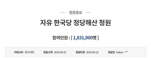 자유한국당 해산 청원이 183만명을 기록하며