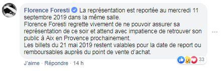 Foresti annule une date à Aix-en-Provence en raison de son