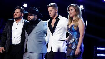 "THE VOICE -- ""Live Finale Results"" Episode 1616B -- Pictured: (l-r) Dexter Roberts, Andrew Sevener, Gyth Rigdon, Maelyn Jarmon -- (Photo by: Trae Patton/NBC/NBCU Photo Bank via Getty Images)"