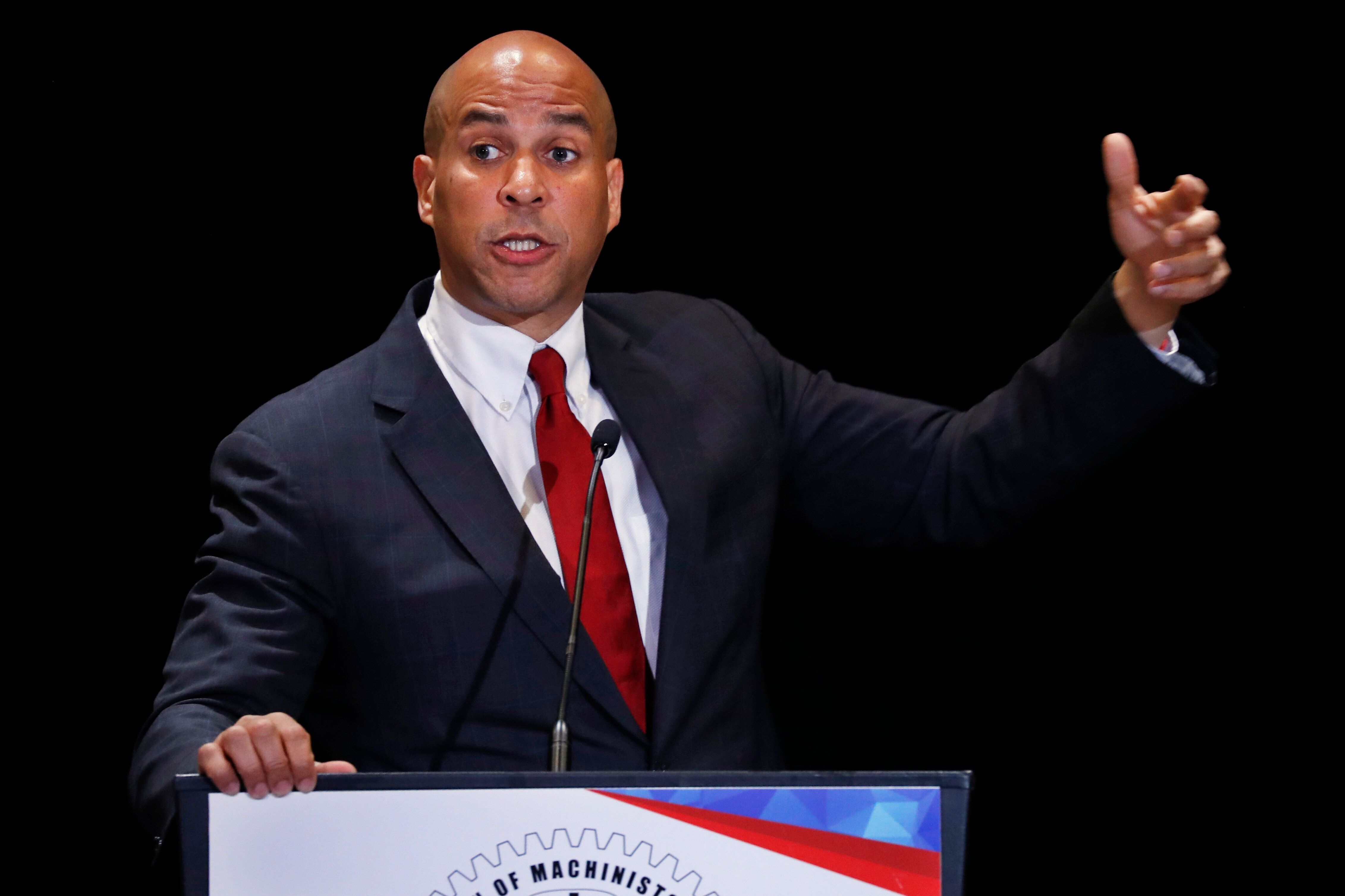 Democratic presidential candidate Sen. Cory Booker, D-N.J., speaks during the Machinists Union Legislative Conference, Tuesday May 7, 2019, in Washington. (AP Photo/Jacquelyn Martin)