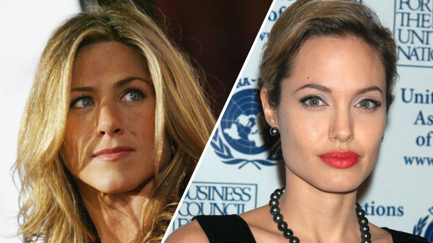 Jennifer Aniston and Angelina Jolie in 2005 (AP Photo/Danny Moloshok/John Smock)