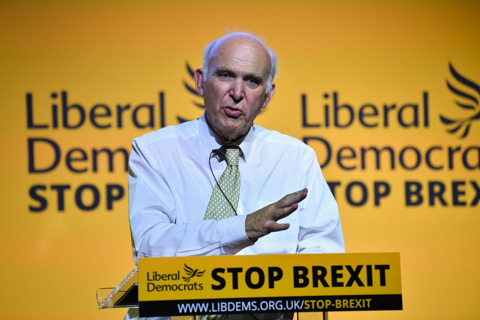 Vince Cable speaks to activists and MPs as the party relishes its renewed sense of