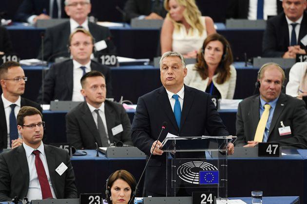 Viktor Orban, primer ministro de Hungría, en un discurso ante el Parlamento Europeo de Estrasburgo,...