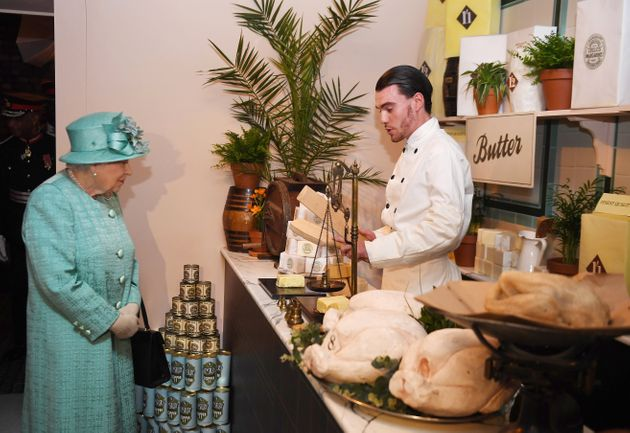 The Queen saw a range of goods at a replica of Sainsbury's first-ever