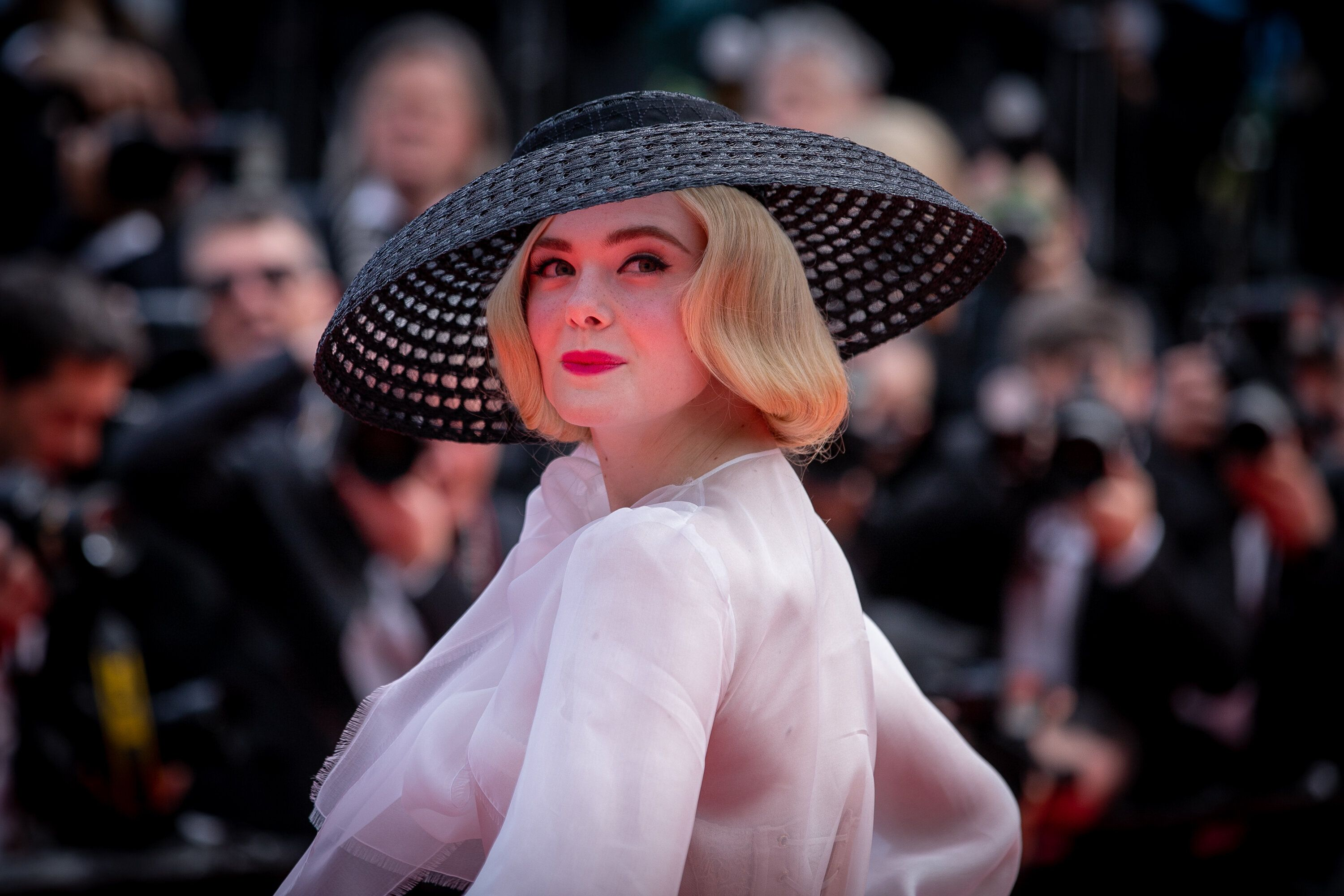 """CANNES, FRANCE - MAY 21: Actress Elle Fanning attends the screening of """"Once Upon A Time In Hollywood"""" during the 72nd annual Cannes Film Festival on May 21, 2019 in Cannes, France. (Photo by Marc Piasecki/FilmMagic)"""
