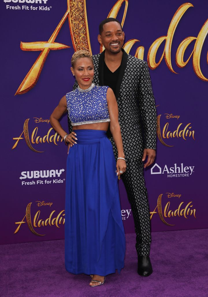 "Jada Pinkett Smith and Will Smith arrive at the ""Aladdin"" premiere in Los Angeles."