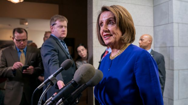 Speaker of the House Nancy Pelosi, D-Calif., speaks to reporters as she departs after meeting with all the House Democrats, many calling for impeachment proceedings against President Donald Trump after his latest defiance of Congress by blocking his former White House lawyer from testifying yesterday, at the Capitol in Washington, Wednesday, May 22, 2019. (AP Photo/J. Scott Applewhite)