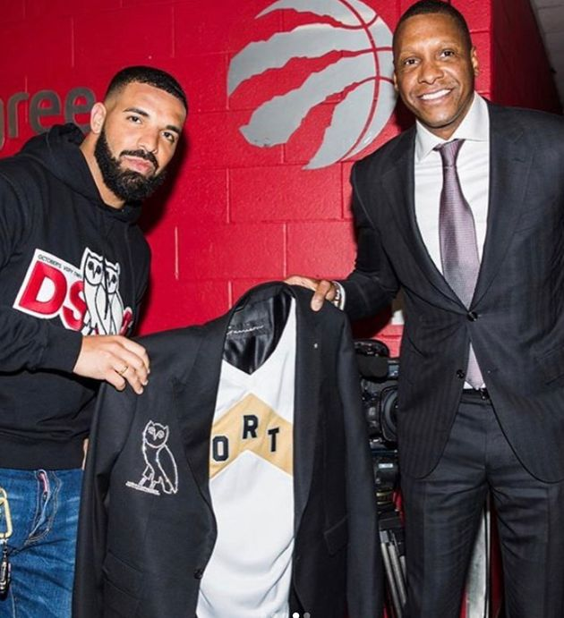 Raptors president Masai Ujiri presented Drake with a diamond-crusted jacket on Tuesday before game...