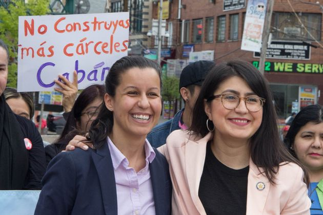 Tiffany Cabán, left, stands with New York state Sen. Jessica Ramos (D), who has endorsed her