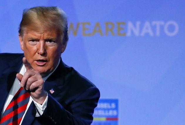 Donald Trump, durante una rueda de prensa en Bruselas tras la cumbre de la OTAN del pasado