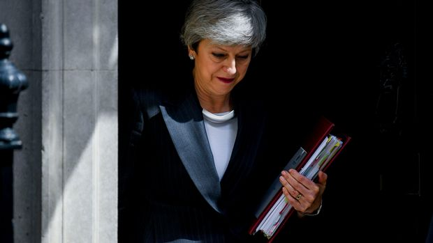British Prime Minister Theresa May departs from 10 Downing Street ahead of Prime Ministers Questions session (PMQs) in Parliament, London on May 22, 2019. Mrs May has announced her newly retouched Brexit deal, including the chance for a second referendum.  (Photo by Alberto Pezzali/NurPhoto via Getty Images)