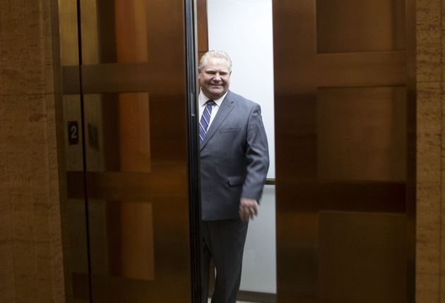 Ontario Premier Doug Ford stands in an elevator at the Ontario legislature in Toronto on May 3,