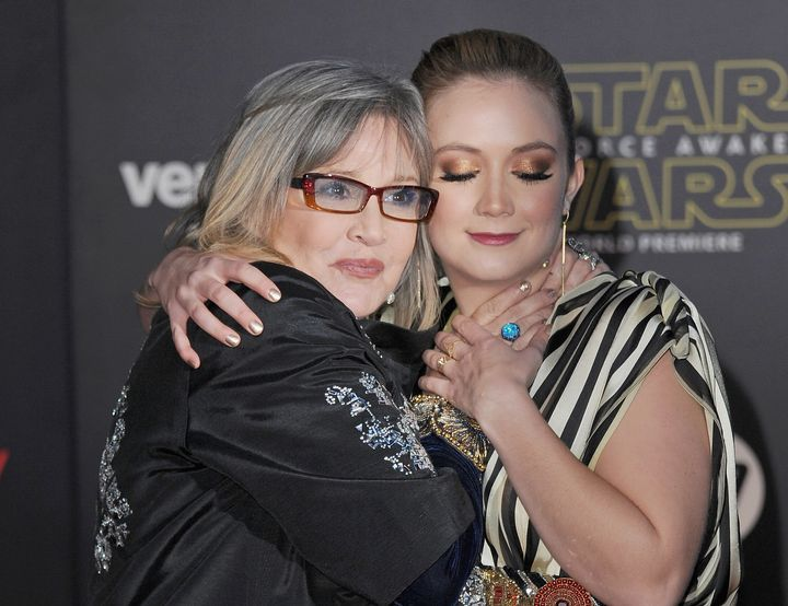 """Carrie Fisher and Billie Lourd at the Los Angeles premiere for """"The Force Awakens"""" in December 2015."""