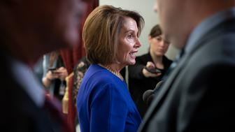 Speaker of the House Nancy Pelosi, D-Calif., departs after meeting with all the House Democrats, many calling for impeachment proceedings against President Donald Trump after his latest defiance of Congress by blocking his former White House lawyer from testifying yesterday, at the Capitol in Washington, Wednesday, May 22, 2019. (AP Photo/J. Scott Applewhite)