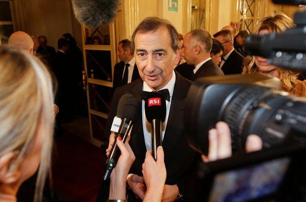 Milan Mayor Giuseppe Sala arrives for La Scala opera house's gala season opener on Dec. 7,
