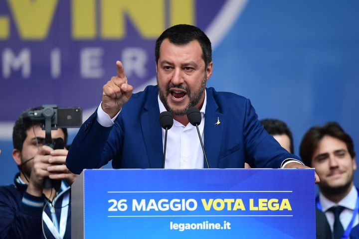Italian Deputy Prime Minister and Interior Minister Matteo Salvinidelivers a speech during a rally of European nationalists ahead of European elections on May 18, 2019, in Milan.