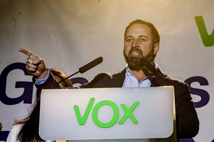 Santiago Abascal gives a speech at VOX headquarters on April 28, 2019 in Madrid.