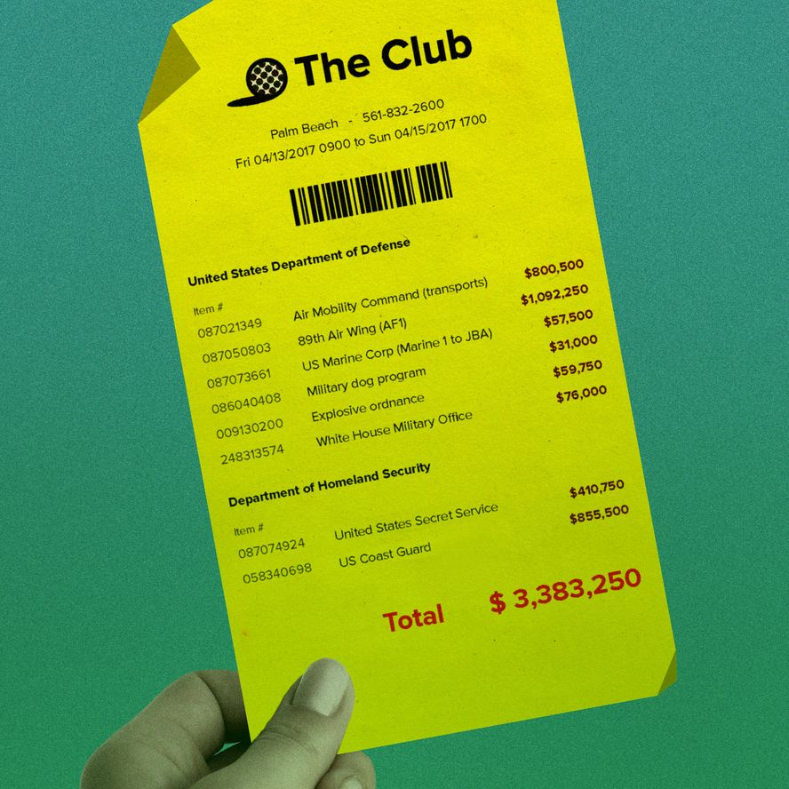 Cost to U.S. taxpayers for a typical Mar-a-Lago golf vacation. — Illustration: Ivylise Simones/Huffington Post.