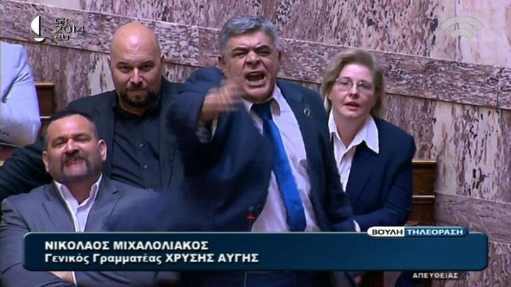 Greece's far-right Golden Dawn party, led byNikolaos Michaloliakos (center), may fare worse this year than it did in the last European Parliament elections.