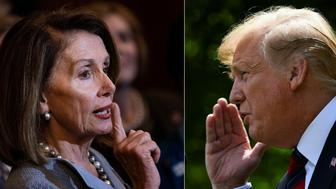 "(COMBO) This combination of pictures created on May 22, 2019 shows US Speaker of the House Nancy Pelosi (D-CA)(L) talks about healthcare legislation on Capitol Hill March 26, 2019, in Washington, DC and US President Donald Trump announces a new immigration proposal, in the Rose Garden of the White House in Washington, DC, on May 16, 2019. - Donald Trump erupted in fury May 22, 2019, at unrelenting probes into his links to Russia, as the top Democrat in Congress accused the president of a ""cover-up"" that could be an impeachable offense. Nancy Pelosi is the most powerful woman in American politics, and President Donald Trump's most potent Democratic nemesis. The pair have sparred repeatedly, but the gloves really came off May 22. Pelosi, the speaker of the US House of Representatives, started the day with an emergency meeting of House Democrats, as the possibility of impeaching Trump swirled over Capitol Hill. (Photos by Brendan Smialowski / AFP)        (Photo credit should read BRENDAN SMIALOWSKI/AFP/Getty Images)"