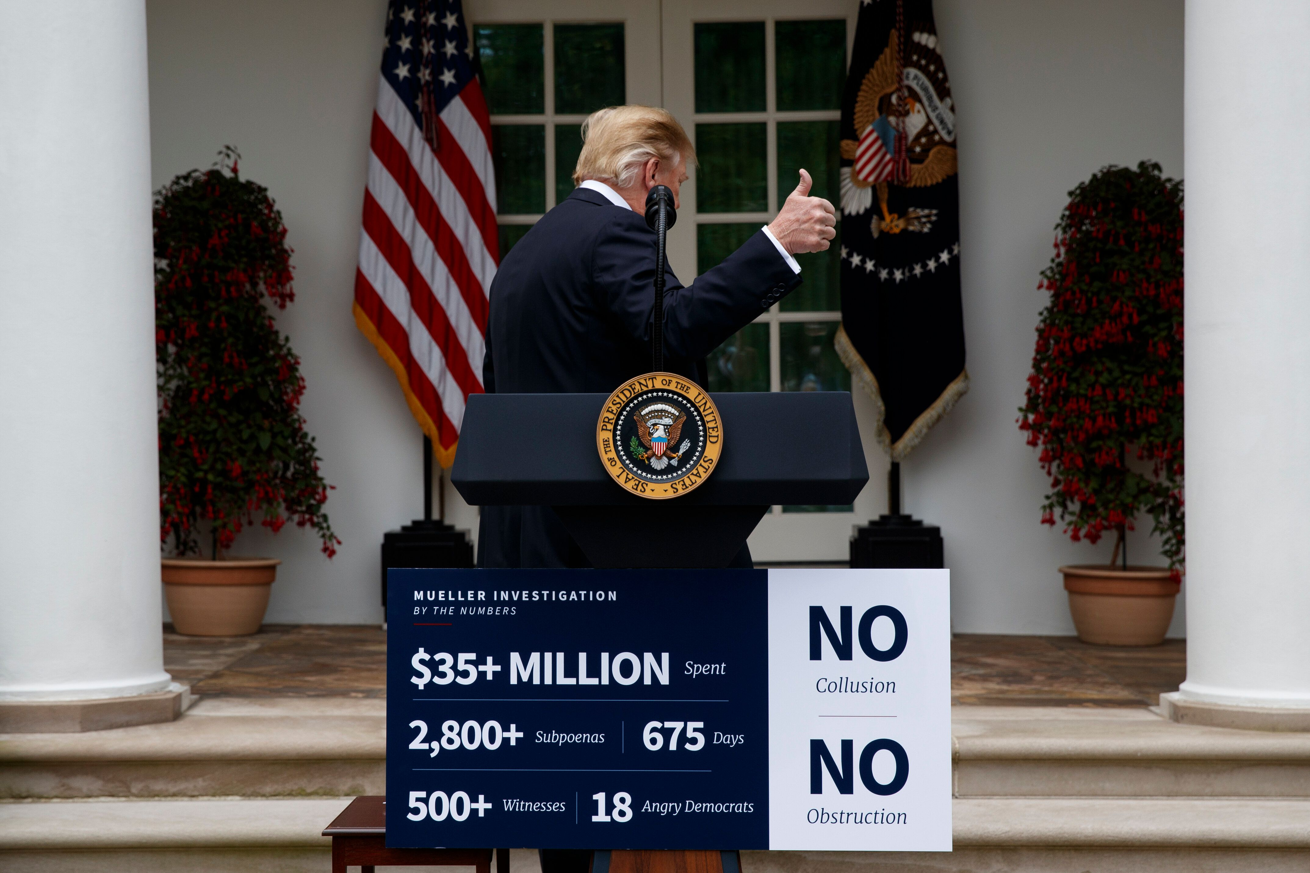 President Donald Trump walks off after delivering a statement in the Rose Garden of the White House, Wednesday, May 22, 2019, in Washington. (AP Photo/Evan Vucci)