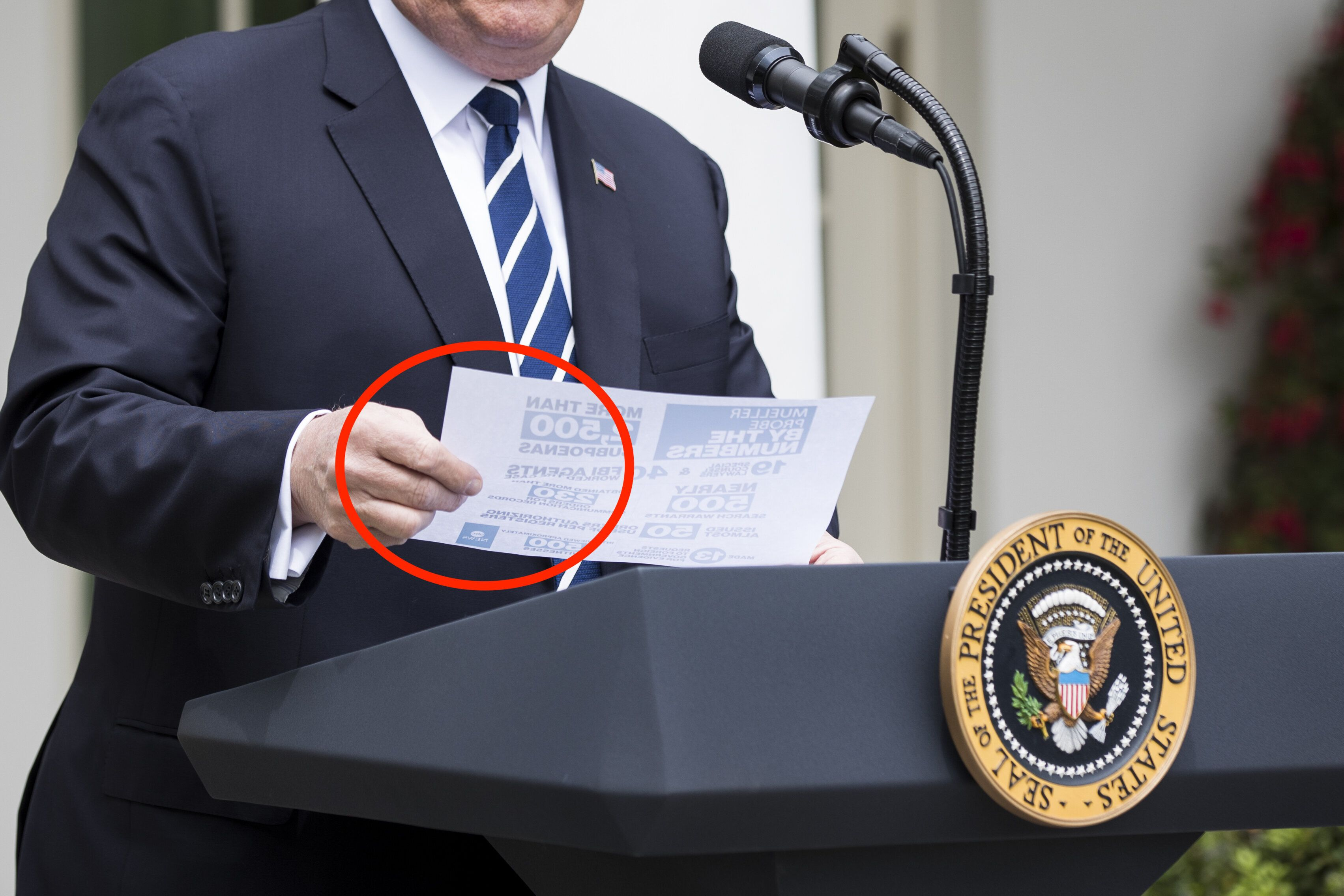 U.S. President Donald Trump holds a page of notes while speaking during a news conference in the Rose Garden of the White House in Washington, D.C., U.S., on Wednesday, May 22, 2019. Trump said he had told Democratic leaders he can't work with them on an infrastructure plan while they're investigating his administration. Photographer: Sarah Silbiger/Bloomberg