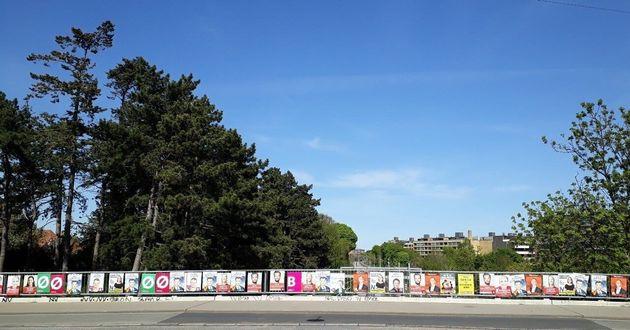 6月に行われる国政選挙に向けた立候補者のポスター。デンマークは公設掲示板がないので、現在街のあちこちにポスターがあふれている