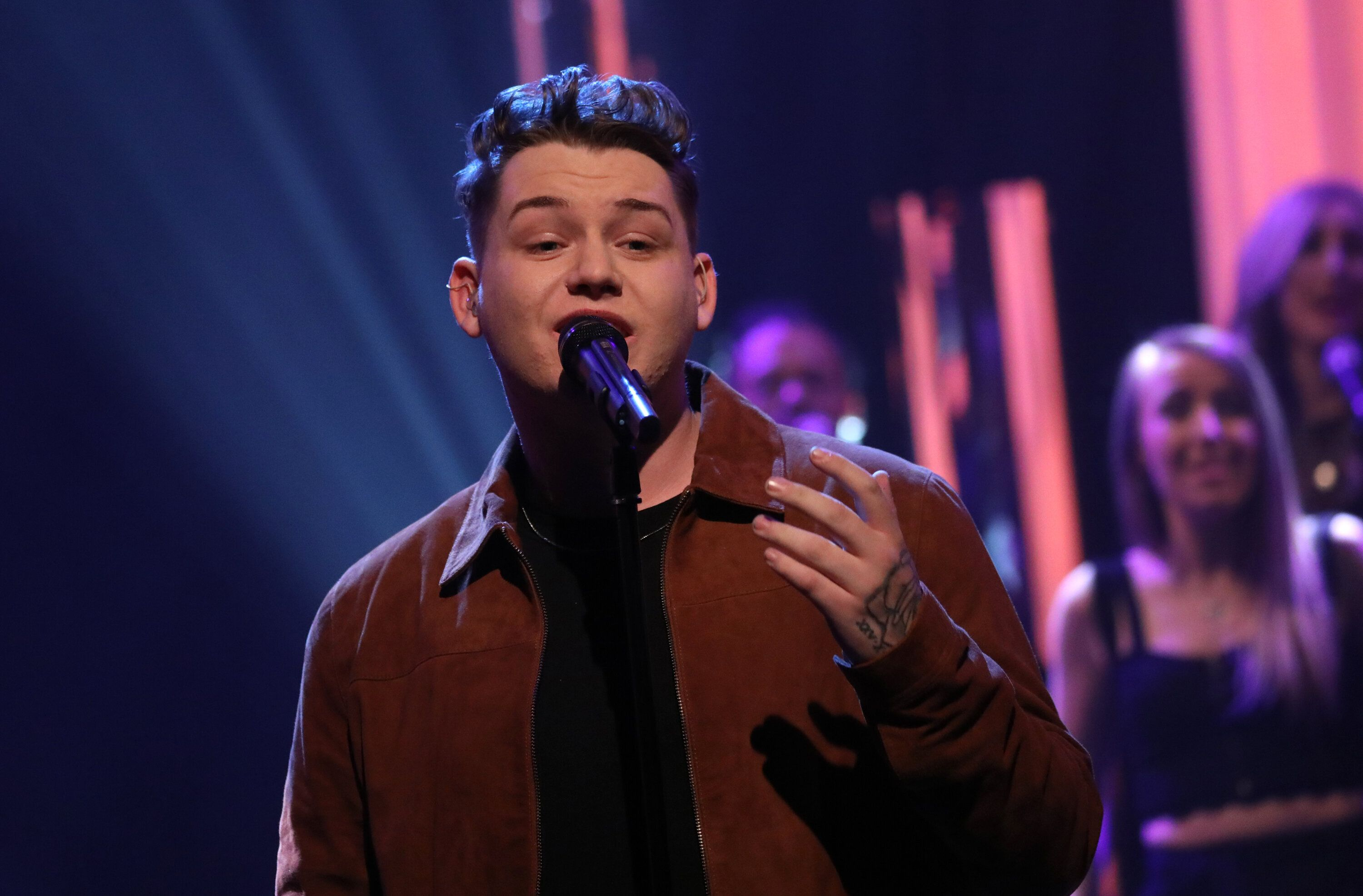Michael Rice performing during the filming for the Graham Norton Show at BBC Studioworks 6 Television Centre, Wood Lane, London, to be aired on BBC One on Friday evening.