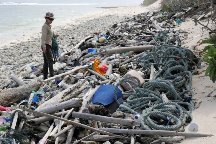 Researchers said they found an estimated 414 million pieces of plastic debris on the Cocos Islands.